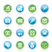 ícones de médico, hospital e cuidados de saúde — Vetorial Stock