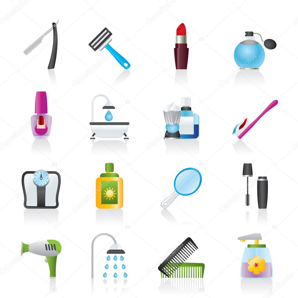 Body care and cosmetics icons - vector icon set — Stock Vector #9366212