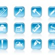 Woodworking industry and Woodworking tools icons - Stock Vector