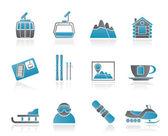 Lyžařské stopy a sportovní ikony — Stock vektor