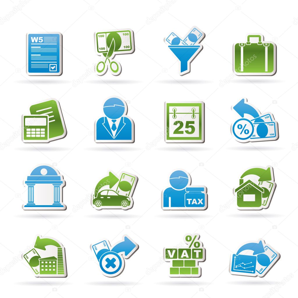 Taxes, business and finance icons - vector icon set  Stock Vector #9743430