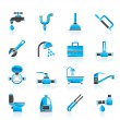 Plumbing objects and tools icons - Image vectorielle