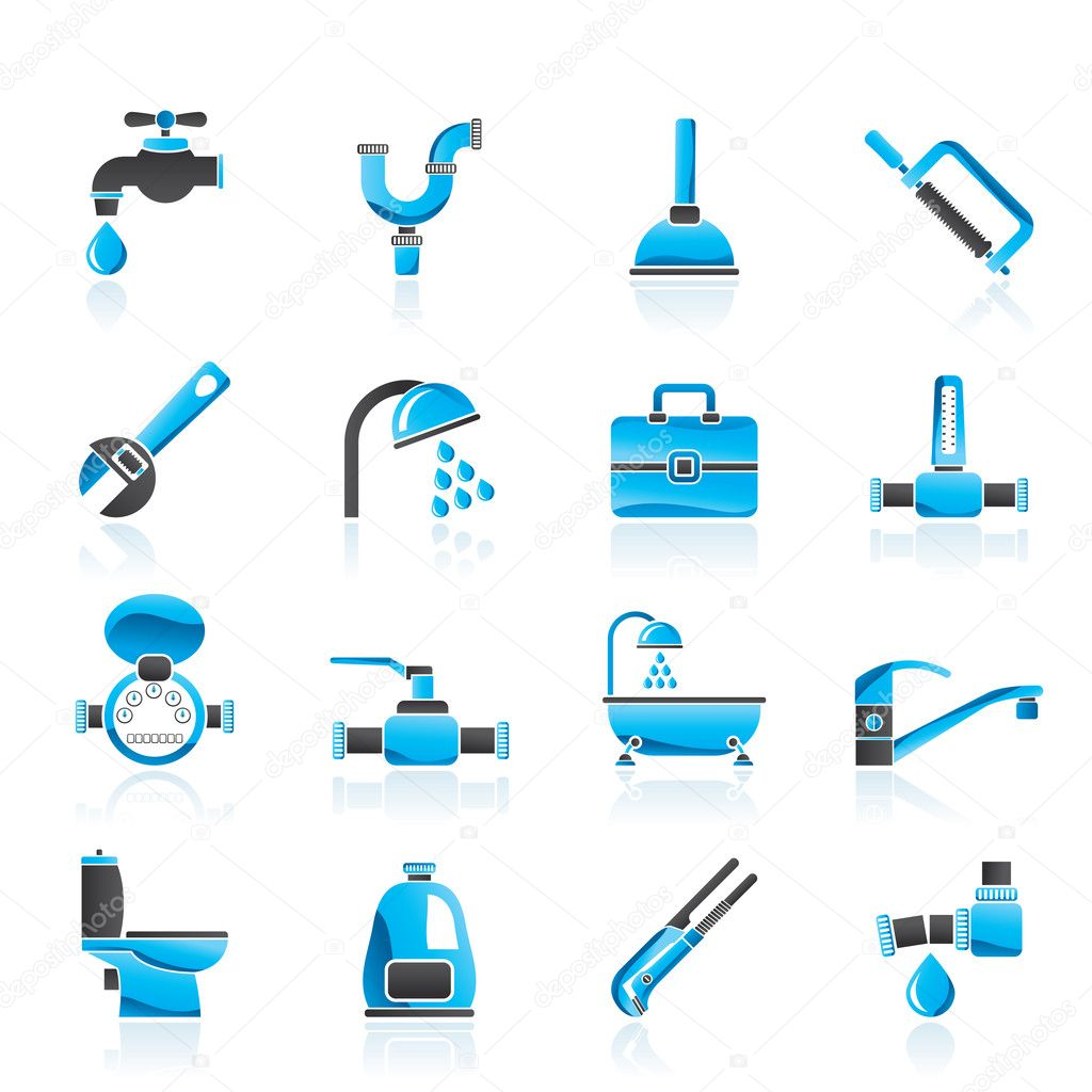 Plumbing objects and tools icons - vector icon set — Stock Vector #9962471