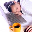 Teenager Fell Asleep While Working on the Computer — Stock Photo #8323736
