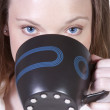 Woman Drinking Coffee Standing Up - Foto Stock