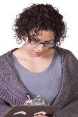 Beautiful Hispanic Woman With a Clipboard — Stock Photo