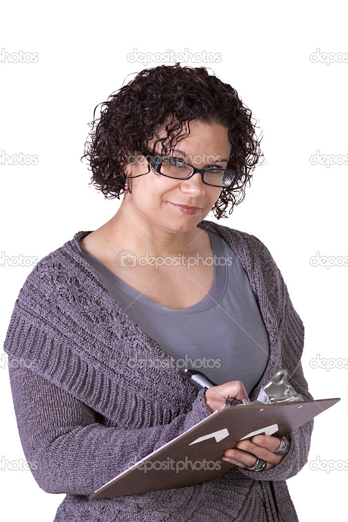 Beautiful Woman With a Clipboard on an Isolated Background  Stock Photo #9965978