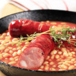 Baked beans and sausages — Stock Photo