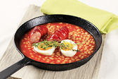 Beans in tomato sauce and sausage — Stock Photo