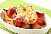 Pork chop with potatoes and red pepper — Stock Photo
