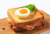 Toast and boiled egg — Stock Photo