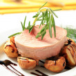 Pork loin steak and baked potatoes — Stock Photo