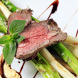 Roast beef and asparagus - Stock Photo