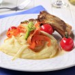 Roast pork ribs and mashed potato — Stock Photo