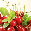 Bowl of fresh red cherries - Stock Photo