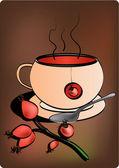 Rose hip tea — Stock Vector
