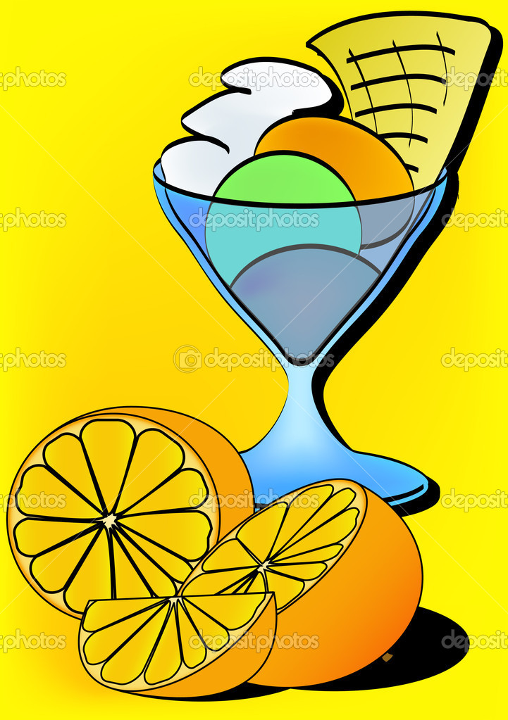 Ice cream sundae and fresh oranges — Stock Vector #8823294