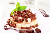 Pancakes with cottage cheese and chocolate — Stock Photo