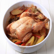 Oven-baked chicken and vegetables — Stock Photo