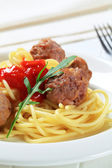 Meatballs and spaghetti — Stock Photo