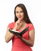 Young woman holding a filofax — Stock Photo
