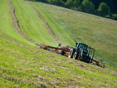 Tractor with a rotary rake in the field — Stock Photo