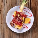 Shish kebab and crispy bacon — Stock Photo #9771847