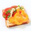 Open faced vegetable sandwich — Stock Photo
