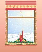 Christmas window — Vector de stock