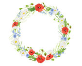 Summer wildflower wreath — Stock Vector
