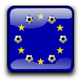 Button flag of Europe with soccer balls — Foto de Stock