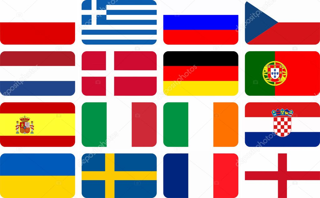 National team flags European football championship 2012. Flags from all 16 participating countries, sorted horizontally according to groups  Stock Photo #9571500