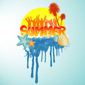 Tropical summer banner — Vector de stock
