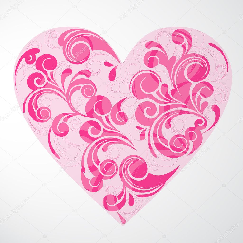 Vector illustration of a colorful floral heart — Stok Vektör #8775200