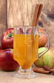 Apple cider with cinnamon sticks and apples. — Stock Photo