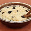 large bowl of creamy rice pudding with raisins and cinnaomon sti — Stock Photo