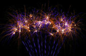 Beautiful fireworks in purple and gold — Foto Stock