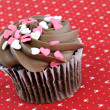 Chocolate Cupcake with Heart Sprinkles — Stock Photo
