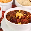Stock Photo: Taco Soup with condiments