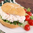 Seafood Salad Sandwich on a hard roll. - Stock Photo
