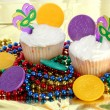 Cupcakes decorated for Mardi Gras — Stock Photo