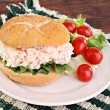 Seafood Salad Sandwich on Hard Roll - Stock Photo