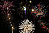 Fireworks Finale with Multiple Bursts — Stock Photo