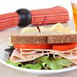 Healthy turkey sandwich on whole wheat bread. — Stock Photo