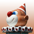 Figurine funny clown with red nose — Stock Photo