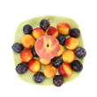 Stock Photo: Still life with natural ripe plums and peaches