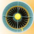 Stock Photo: Large jet engine detail viewed from below