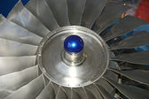 Closeup of a jet turbine. Blades of the airplane turbine — Stock Photo