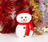 Emocionada por dentro de muñeco de nieve. decoración de la navidad — Foto de Stock