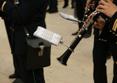 Marching military band at the parade. Clarinet — Stock Photo